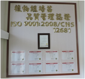 The TSIPS Tissue Culture Lab introduced the International Organization for Standardization (ISO 9001:2008) system, and received the qualified certification from Taiwan Accreditation Foundation (TAF).